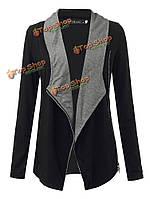 Женщин способа подбора цвета стороны молнии джокер короткое пальто