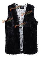 Случайные женщины твердый v шеи без рукавов подкладки печать искусственного меха пальто