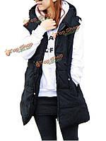 Случайные женщины без рукавов шнурок карман на молнии хлопка пальто с капюшоном