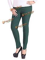 Плюс размер элегантный тонкий женщины высокой талии твердый эластичный карман карандаш брюки