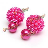 Элегантные двойные серьги жемчужные бусины сторона мяч уха шпильки для женщин