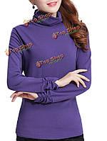Случайные женщины тонкий твердый водолазка с длинным рукавом теплый основывая футболку