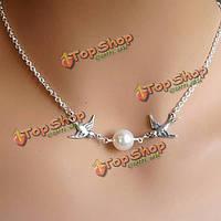 Милый серебряный кулон жемчужина птица ключицы цепи ожерелье для женщин