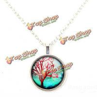 Винтажные жизни дерево стекло кабошон цепь кулон ожерелье ювелирные изделия