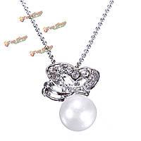 Серебряные бабочки rhinestone Перл кулон ожерелье для женщин
