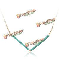 Зеленый бежевый ссылку с V шарики цепи ожерелье для женщин