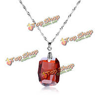 Стерлингового серебра 925 пробы ромб австрийский хрусталь кулон ожерелье