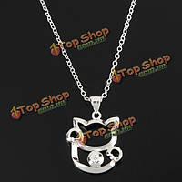 Посеребренная кристалл удачи милая кошка кулон ожерелье для женщин