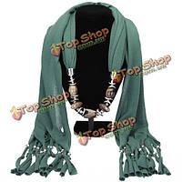 Женский шарф подвеска с кисточками
