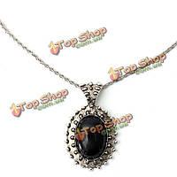 Старинные резные овальные черный Большой Камень цепь кулон ожерелье женщин ювелирные изделия