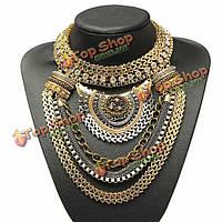Старинные золотые серебряные многослойные кристалл нагрудник заявление ожерелье ошейник