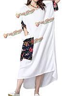 Длинный рукав потерять половину этнический стиль пэчворк хлопкового белья Женское повседневная Халат Платье