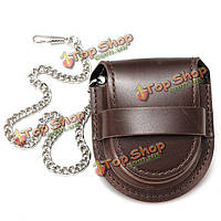 Винтажный кожаный цепи карманные часы держатель коробка для хранения