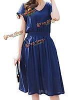 Женщины тонкий стрейч высокой талии v шеи белья мини-платье фигуристом
