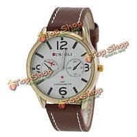 Jubaoli по GMT хронометр печатные кожаный ремешок спортивные часы