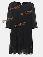 Лук шифон плиссе черный мини Женское повседневная Платье