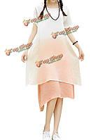 Элегантные женщины градиент цвета кратко поддельные из двух частей платье хлопкового белья