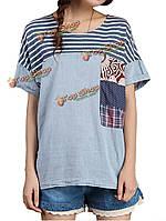 Случайные женщины полоса печати лоскутное хлопка белье футболки