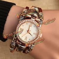 Винтажной моды дамы браслет часы случайных женщин кожа аналоговые кварцевые часы