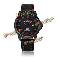 Naviforce 9061 моды военные часы кварцевые аналоговые кожаный ремешок спорта человек армейский часы