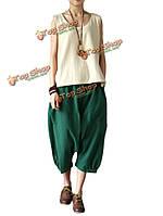 Блудниц высокой талии карман твердый хлопок белье брюки капри