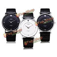 Вайде 93001 черный белый натуральная кожа мужчин часы швейцарский механизм