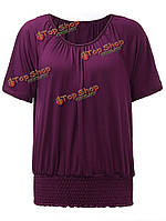 Женщины тонкий стрейч талии складками сплошной цвет футболки