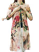 Старинные женщин Китай лягушка цветок печати Сплит cheongsam кардиган