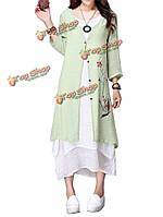 Китай стиль женщин лето цветок печати хлопок лен кардиган