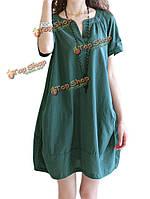Сыпучих женщин v шеи кармана лоскутное шитье плиссированные мини-платье