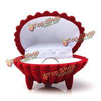 Форма раковины бархат кольцо серьги кулон подарочные коробки ювелирные изделия случае