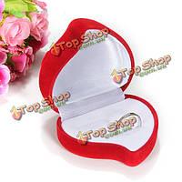 1 коробка двойного кольца бархат красный цветок в форме сердца ювелирных изделий футляр для хранения