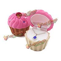 Бархат Кубок торт rhinestone кольца серьги ювелирные изделия ящик для хранения подарок чехол
