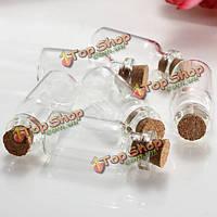 10шт Mini четкие желающие сообщение стеклянные бутылки флаконы с пробкой баночки