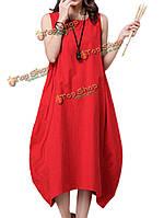 Чистый цвет сыпучих женщин хлопок лен макси фонарь сарафан