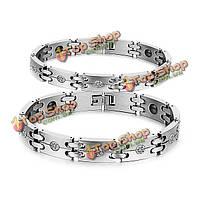 Кристаллами нержавеющая сталь 316L магнитный браслет здоровья пару