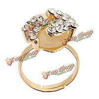 Позолоченный кристалл сплава прекрасные маленькие ножки опал кольца для женщин