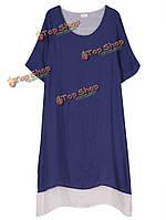 Народном стиле женщин твердых поддельные из двух частей хлопок лен платье
