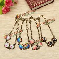 Ретро бронзовый Радужный драгоценный камень цепи браслет ювелирных изделий женщин