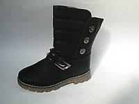 Зимние сапоги подростковые на маленьком каблуке р 31-37/черные