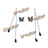 Кристалл черная бабочка кулон кисточкой серьги падения для женщин