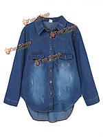 Сыпучих женщин лацкане карман высокий низкий Джинсовая рубашка блузка