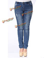 Плюс размер женщин джинсовой разорвал узкие джинсы