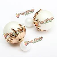 Элегантные двойные серьги бисер мяч цветок гвоздики для женщин