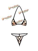 Сексуальная недоуздок ремешками леопарда печатных комплект бикини из двух частей купальных костюмов