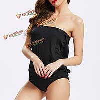 Кусок купальники высокая эластичность купальник без спинки One женщины сексуальное платье без бретелек
