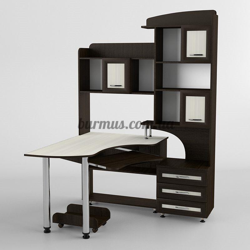 Компьютерный стол угловой со шкафом- пеналом Ск-218, дуб молочный+ венге- магия
