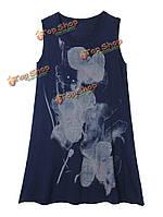 Этнический стиль чернил женщины без рукавов напечатаны трикотажные мини сарафана