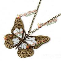 Бронзы год сбора винограда бабочки кулон длинной цепью ожерелье ювелирные изделия женщин