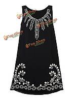 Элегантных Женское V-образный вырез без рукавов вышивкой красивое мини платье